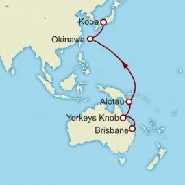 Brisbane to Kobe World Sector Itinerary