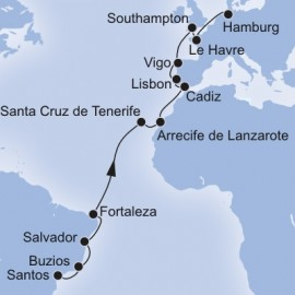 Santos to Hamburg Itinerary