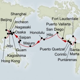 Fort Lauderdale to Hong Kong World Sector Itinerary
