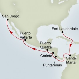 Fort Lauderdale to San Diego Grand World Sector Itinerary