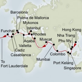 Hong Kong to Fort Lauderdale Grand World Sector Itinerary