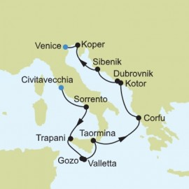 Mediterranean from Civitavecchia to Venice Itinerary
