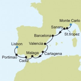 Monte Carlo to Lisbon Itinerary