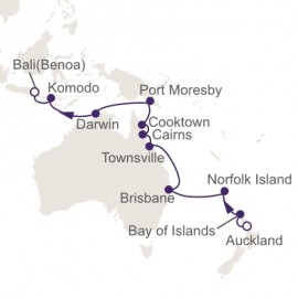Auckland to Bali Benoa World Sector Itinerary