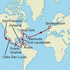 Southampton to San Francisco World Sector Itinerary