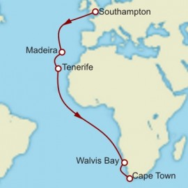 Southampton to Cape Town World Sector Cunard Cruise