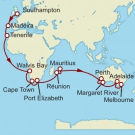 Southampton to Melbourne World Sector Itinerary