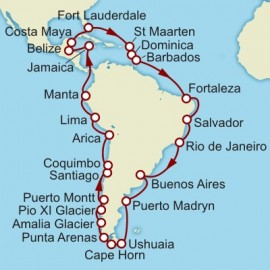 Fort Lauderdale to Fort Lauderdale World Sector Itinerary