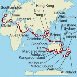 Fremantle to Southampton World Sector Cunard Cruise