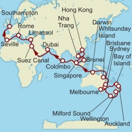Melbourne to Southampton World Sector Itinerary