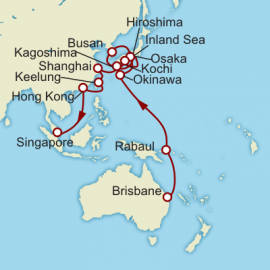 Brisbane to Singapore World Sector Itinerary