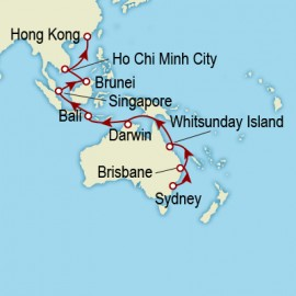 Sydney to Hong Kong World Sector Itinerary