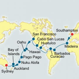 Southampton to Sydney World Sector P&O Cruises UK Cruise