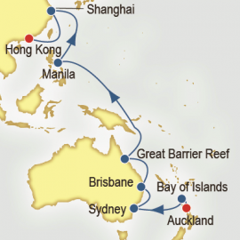 World Cruise Auckland to Hong Kong Sector Cruise