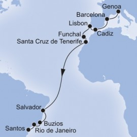 Genoa to Santos MSC Cruises Cruise