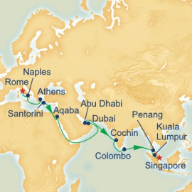 Maiden Mediterranean and Southeast Asia Itinerary