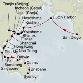 San Diego to Sydney Grand World Sector Holland America Line Cruise