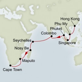 Hongkong to Cape Town World Sector Itinerary