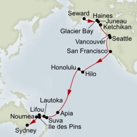 Alaska Glacier and South Pacific Crossing Collector  Itinerary