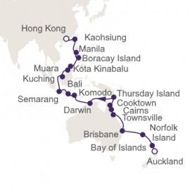 Auckland to Hong Kong World Sector Itinerary