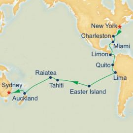 World Cruise New York to Sydney World Sector Itinerary