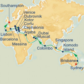 World Cruise Sydney to Southampton Sector Itinerary