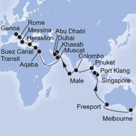 Melbourne to Genoa World Sector Itinerary