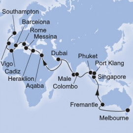 Melbourne to Southampton World Sector MSC Cruises Cruise