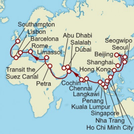 Shanghai to Southampton World Sector Itinerary