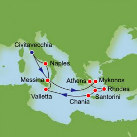 Eastern Mediterranean and Greek Isles from Civitavecchia Itinerary