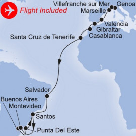 Genoa to South America Fly Itinerary