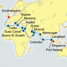 World Sector Singapore to Southampton Itinerary