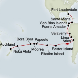 Fort Lauderdale to Auckland Grand World Voyage Itinerary