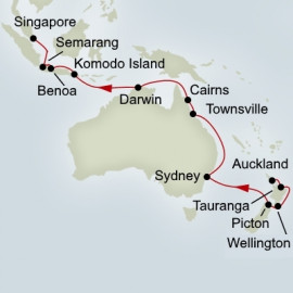 Auckland to Singapore Grand World Voyage Itinerary