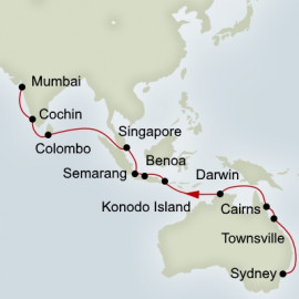 Sydney to Bombay Grand World Voyage Holland America Line Cruise