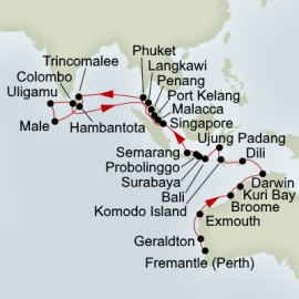 East Indies and Coral Seas and Indian Ocean Voyager  Itinerary
