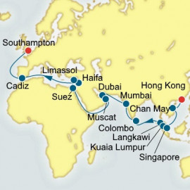 Hong Kong to Southampton World Sector Itinerary