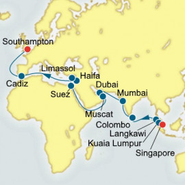 Singapore to Southampton World Sector P&O Cruises UK Cruise