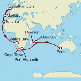 Southampton to Fremantle World Sector Itinerary