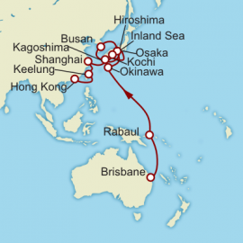 Brisbane to Hong Kong World Sector Itinerary