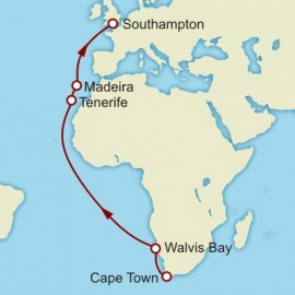 Cape Town to Southampton World Sector Cunard Cruise