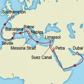 Dubai to Southampton World Sector Itinerary
