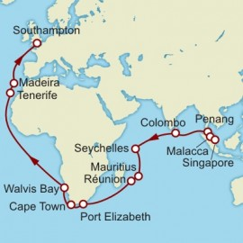 Singapore to Southampton World Sector Cunard Cruise