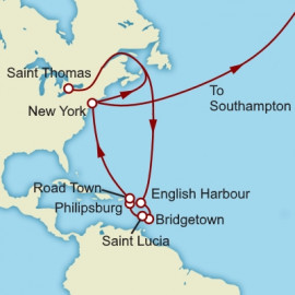 Eastern Caribbean and Transatlantic Crossing Itinerary