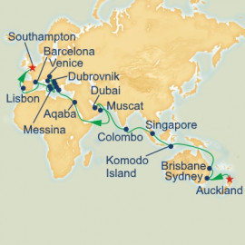 World Cruise Auckland to Southampton Sector Itinerary