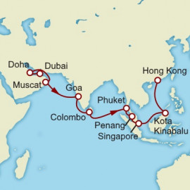 Dubai to Hong Kong World Sector Itinerary