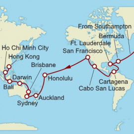 Southampton To Hong Kong Sector  Cunard Cruise