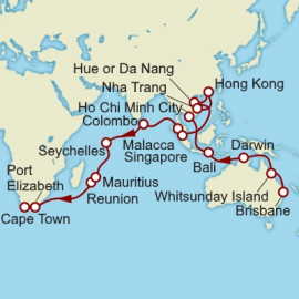 Brisbane to Cape Town World Sector Cunard Cruise