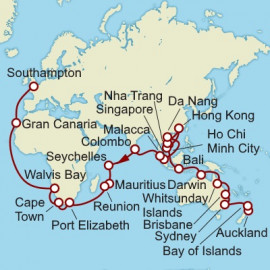 Auckland to Southampton World Sector Cunard Cruise