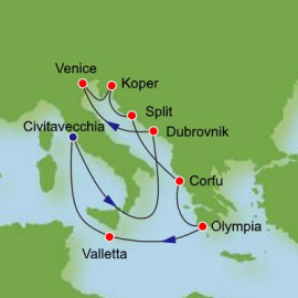 Mediterranean and Adriatic from Civitavecchia Itinerary